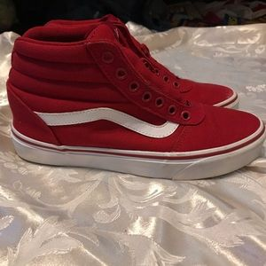 Red high top vans (red new laces included) 7.5